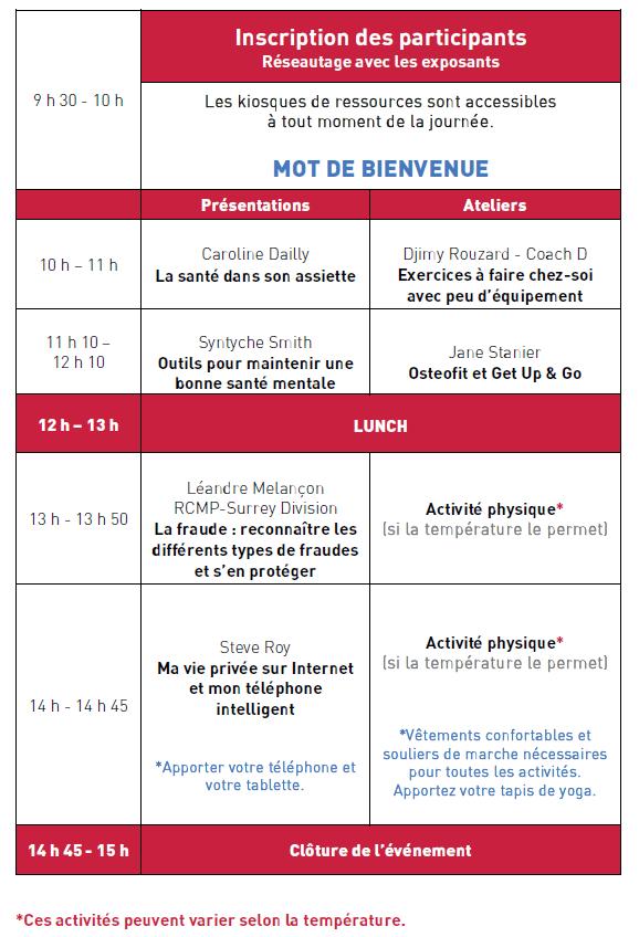 Programme Foire Santé 55+